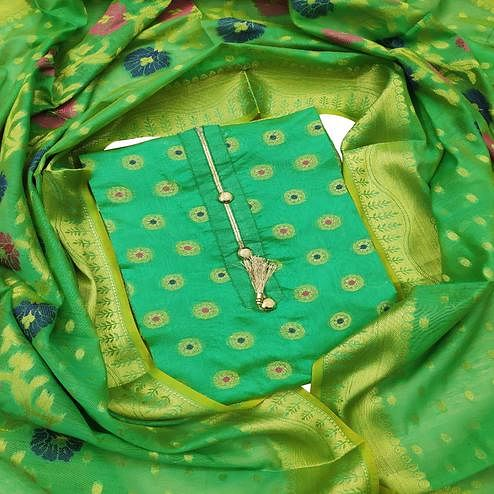 Exclusive Green Colored Festive Wear Woven Banarasi Silk Dress Material