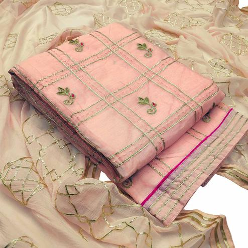 Engrossing Peach Colored Partywear Embroidered Modal Silk Dress Material