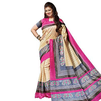 Multicolored Bhagalpuri Silk Saree