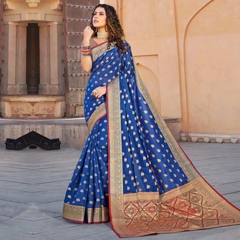 Intricate Blue Colored Festive Wear Woven Handloom Silk Saree