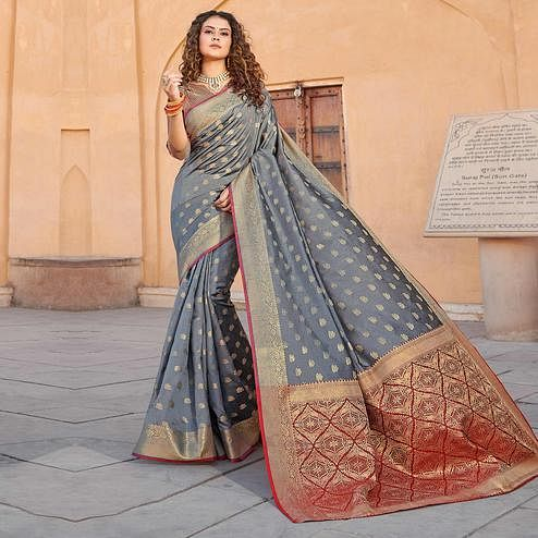 Desirable Grey Colored Festive Wear Woven Handloom Silk Saree
