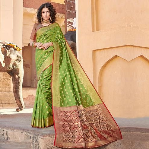 Trendy Green Colored Festive Wear Woven Handloom Silk Saree
