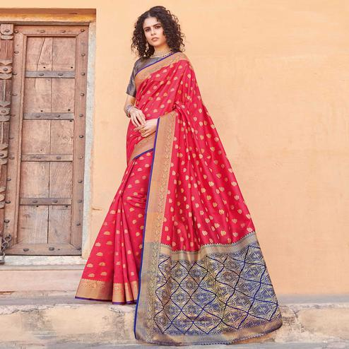Radiant Red Colored Festive Wear Woven Handloom Silk Saree