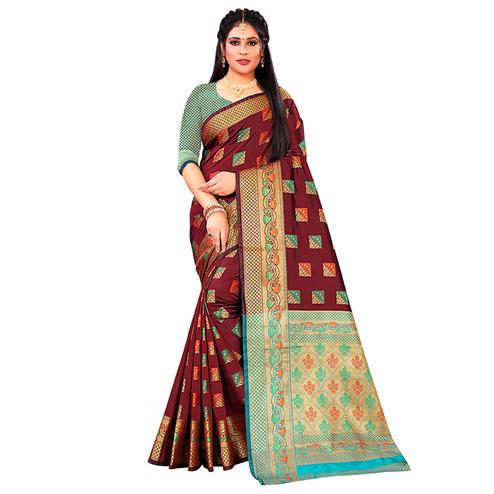 Glorious Maroon Colored Festive Wear Woven Silk Saree