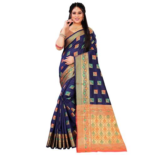 Blooming Navy Blue Colored Festive Wear Woven Silk Saree