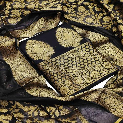 Excellent Black Colored Festive Wear Woven Banarasi Silk Dress Material