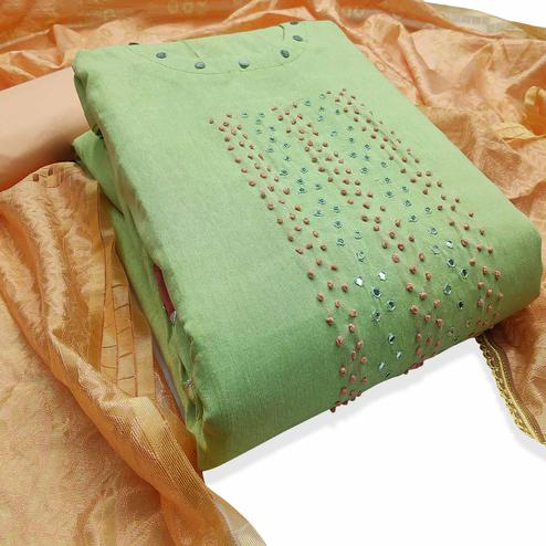 Magnetic Green Colored Party Wear Embroidered Cotton Dress Material