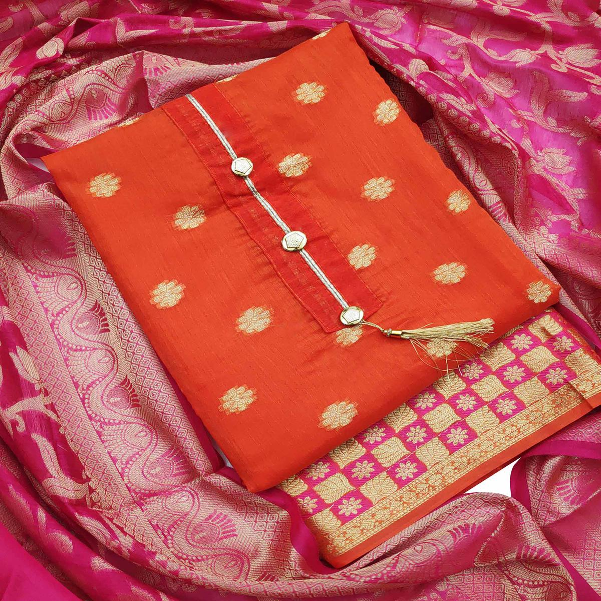 Flaunt Orange Colored Festive Wear Woven Banarasi Silk Dress Material