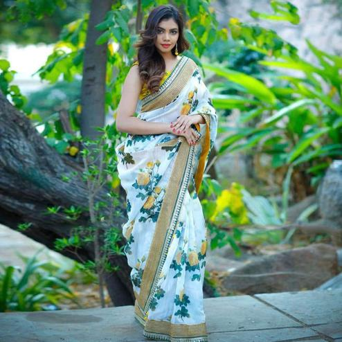 White Colored Party Wear Floral Digital Printed Silk Saree