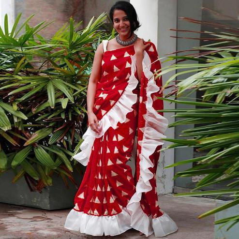 Lovely Red Colored Casual Wear Printed Art Silk Saree