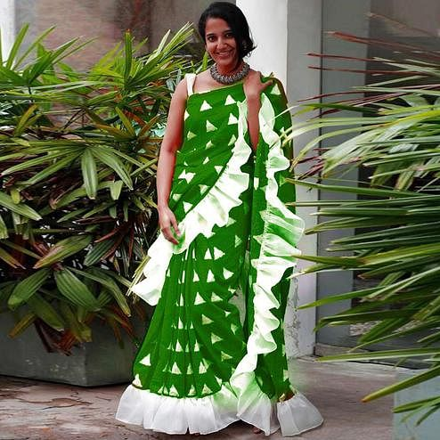 Majesty Green Colored Casual Wear Printed Art Silk Saree