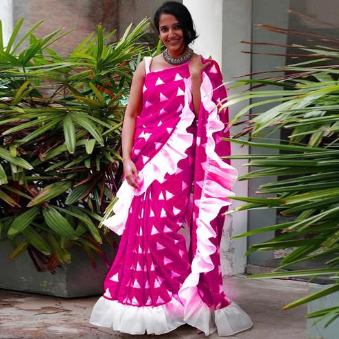 Ethnic Pink Colored Casual Wear Printed Art Silk Saree