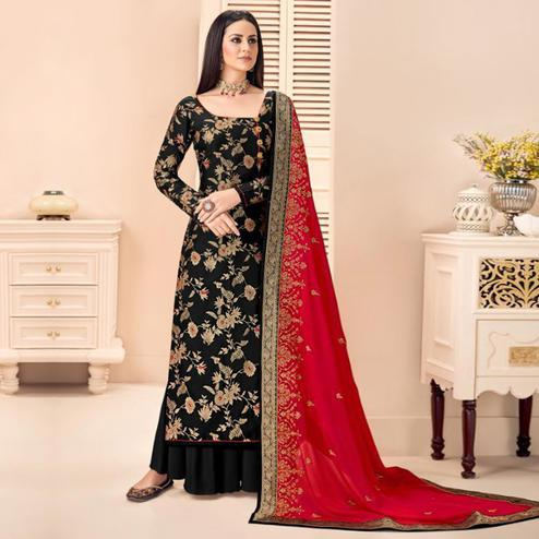 Amazing Black Colored Partywear Floral Printed Jacquard Silk Palazzo Suit