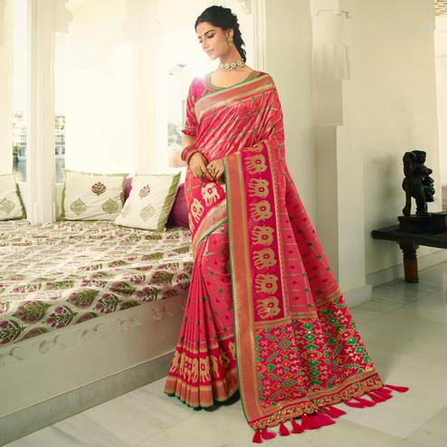 Glowing Pink Colored Festive Wear Woven Silk Saree With Tassels