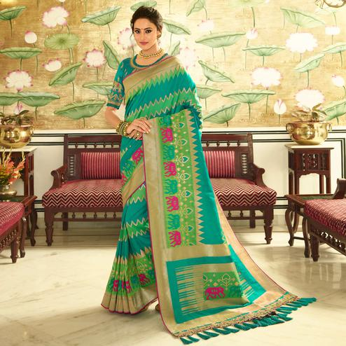 Amazing Blue Colored Festive Wear Woven Silk Saree With Tassels