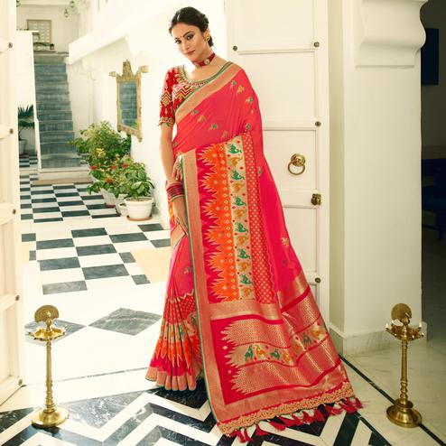 Blissful Pink Colored Festive Wear Woven Silk Saree With Tassels