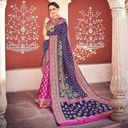 Blooming Blue-Pink Colored Designer Partywear Printed Half-Half Silk Saree