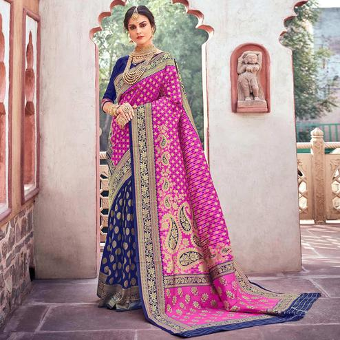 Graceful Pink-Blue Colored Designer Partywear Printed Half-Half Silk Saree