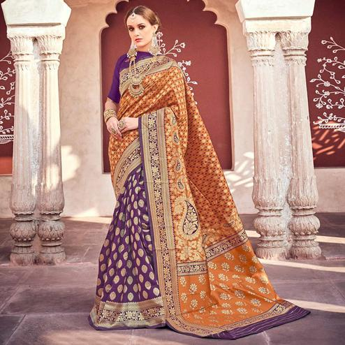 Attractive Orange-Purple Colored Designer Partywear Printed Half-Half Silk Saree