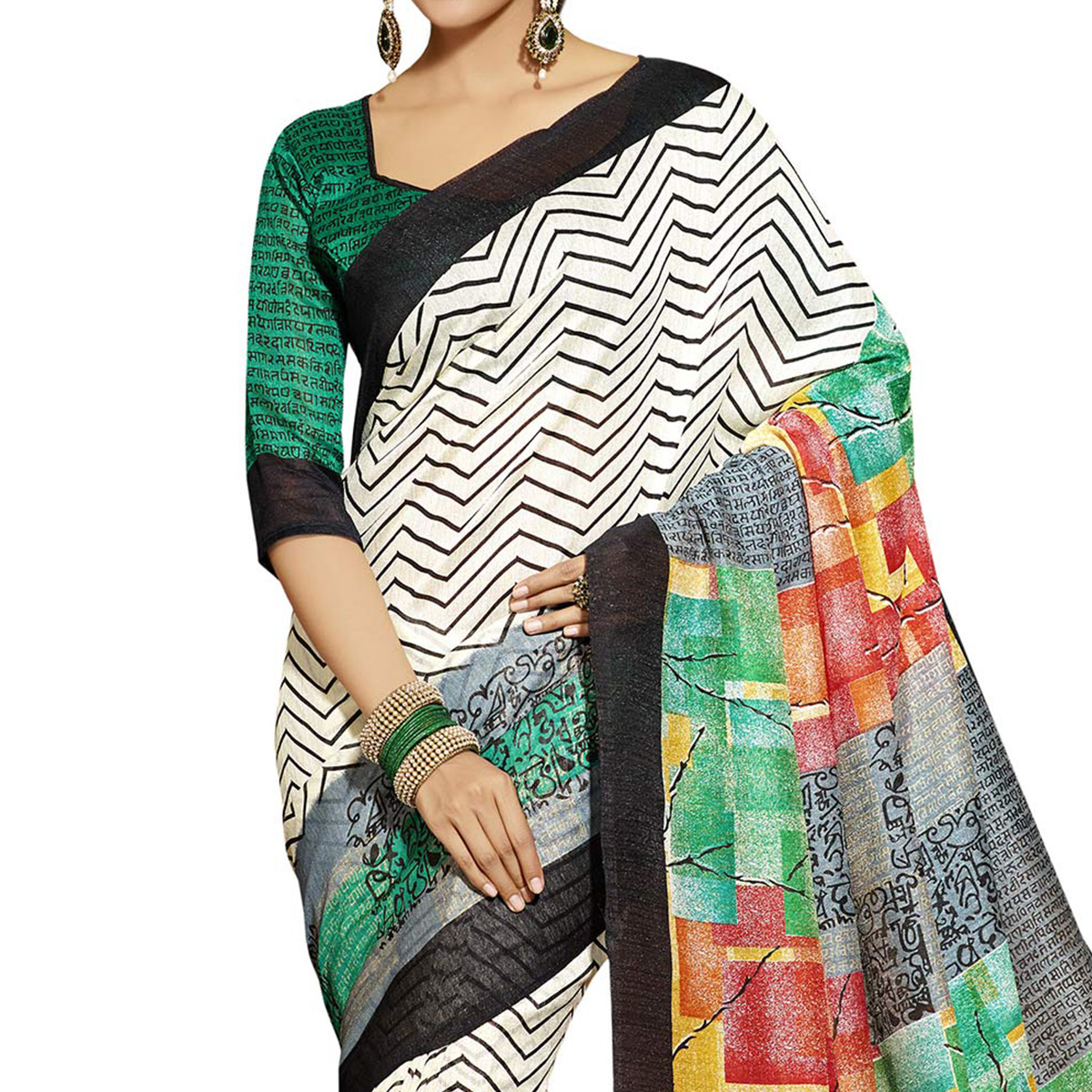 Off White - Grey Casual Wear Saree