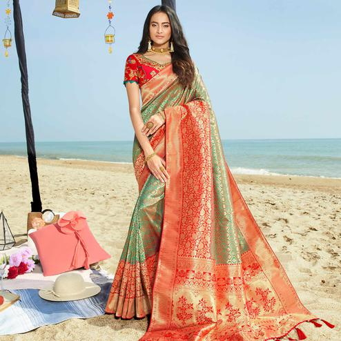 Prominent Green Colored Festive Wear Woven Jacquard Silk Saree With Tassels