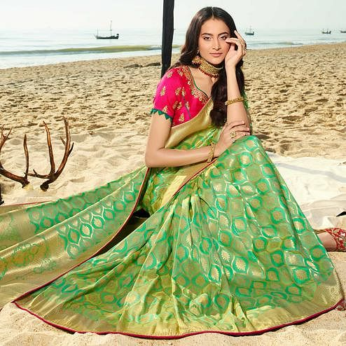 Groovy Green Colored Festive Wear Woven Jacquard Silk Saree With Tassels