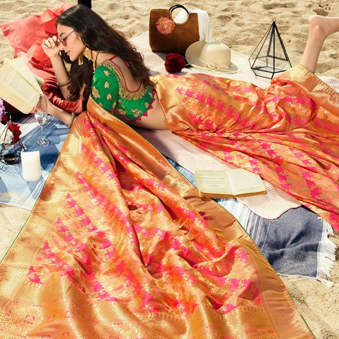 Exclusive Pink-Orange Colored Festive Wear Woven Jacquard Silk Saree With Tassels