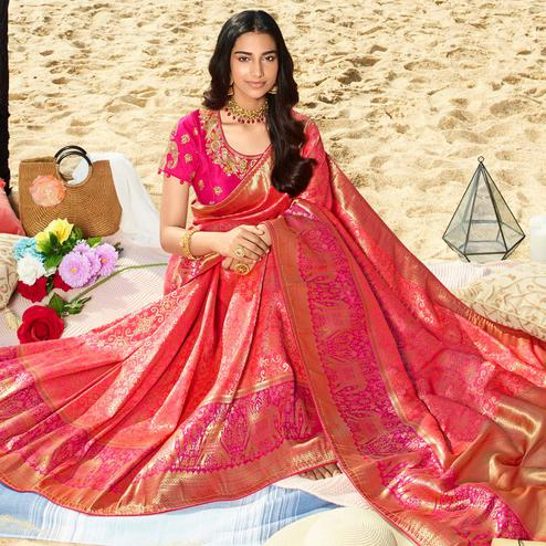 Delightful Pink Colored Festive Wear Woven Jacquard Silk Saree With Tassels
