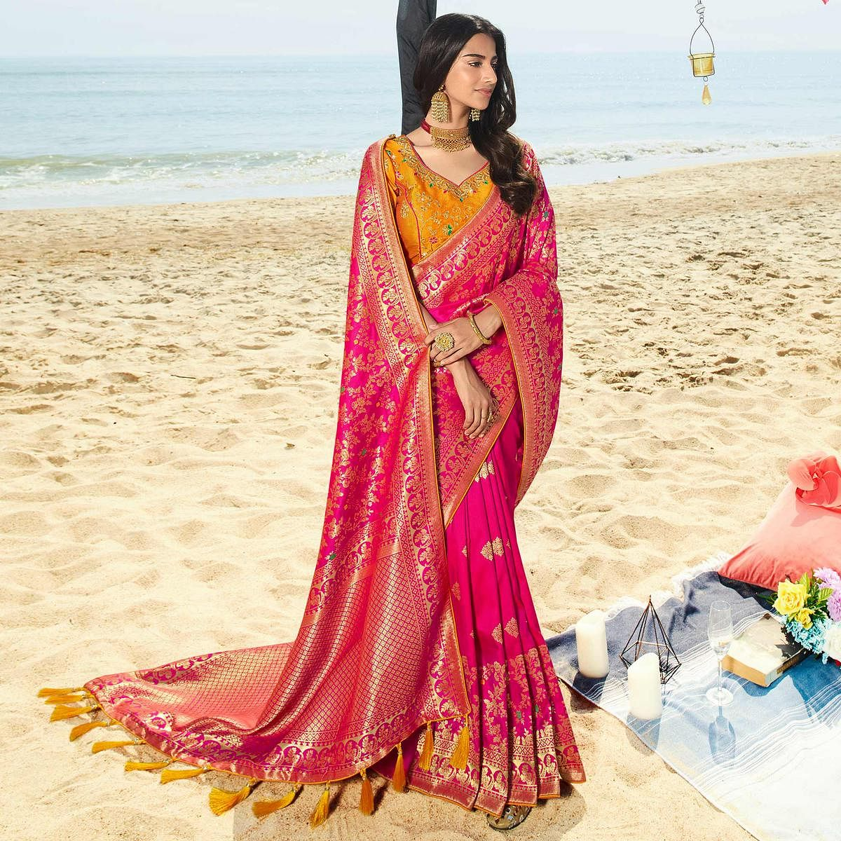 Innovative Magenta Pink Colored Festive Wear Woven Jacquard Silk Saree With Tassels