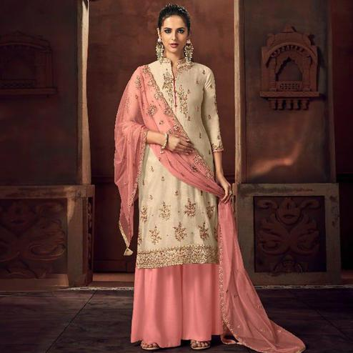Exotic Cream Colored Party Wear Embroidered Tussar Silk Palazzo Suit
