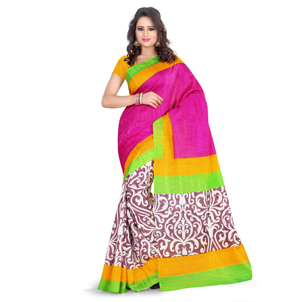 Pink - Yellow Art Silk Saree