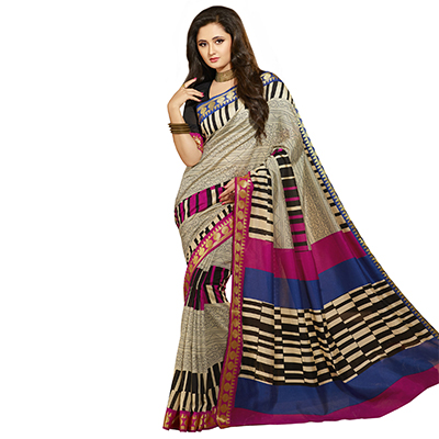 Cream - Pink Casual Wear Saree