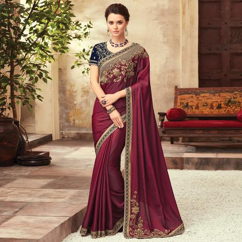 Intricate Wine Colored Party Wear Embroidered Silk Saree
