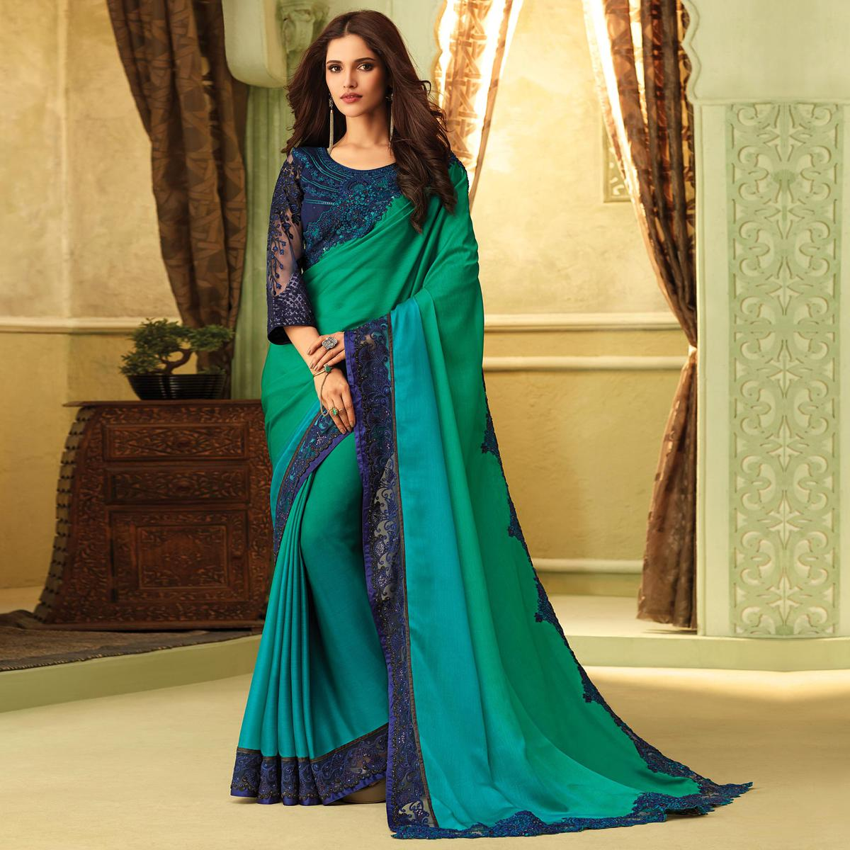 Radiant Green-Blue Colored Party Wear Embroidered Silk Saree