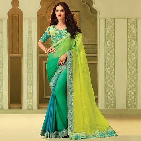 Energetic Shaded Green Colored Party Wear Embroidered Silk Saree