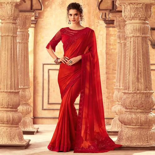 Intricate Red Colored Partywear Embroidered Silk Saree