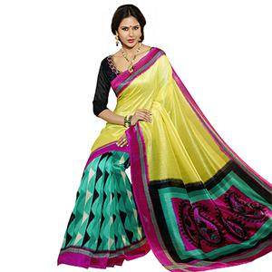 Yellow - Green Bhagalpuri Silk Saree