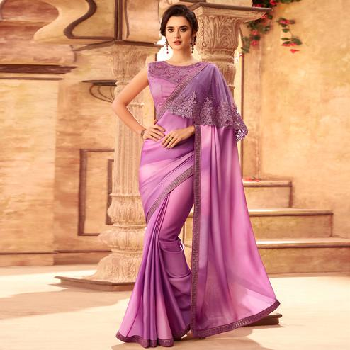 Sophisticated Purple Colored Partywear Embroidered Silk Saree