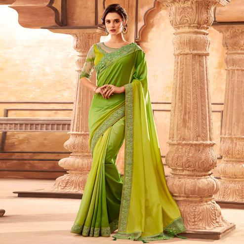 Elegant Green Colored Partywear Embroidered Silk Saree