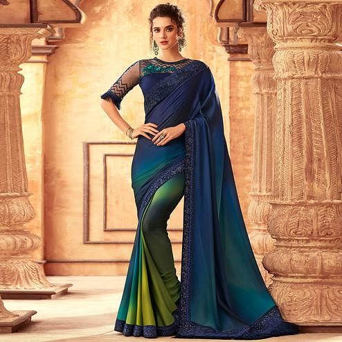 Radiant Navy Blue-Multi Colored Partywear Embroidered Silk Saree