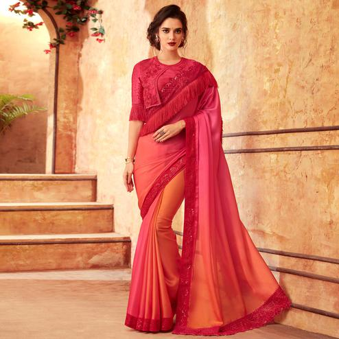 Energetic Pink-Orange Colored Partywear Embroidered Silk Saree