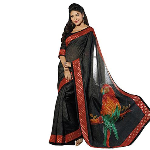 Black Parrot Printed Silk Saree