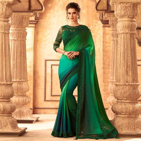 Exceptional Shaded Green Colored Partywear Embroidered Silk Saree