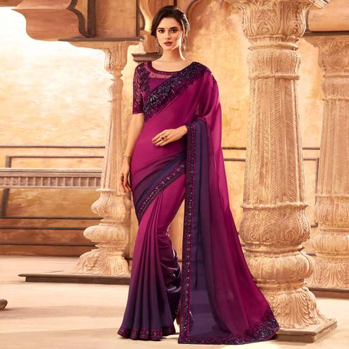 Demanding Magenta Pink Colored Partywear Embroidered Silk Saree