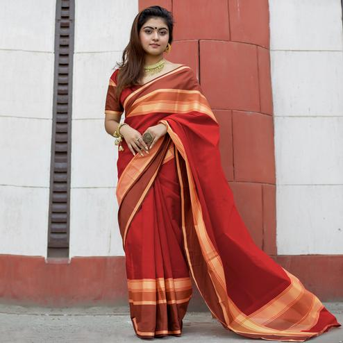 Attractive Red Colored Party Wear Designer Printed Cotton Silk Saree