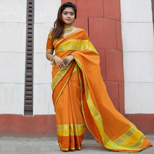 Glorious Orange Colored Party Wear Designer Printed Cotton Silk Saree