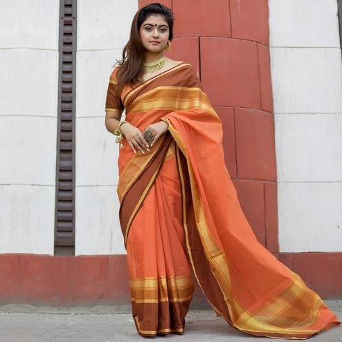Pretty Peach Colored Party Wear Designer Printed Cotton Silk Saree