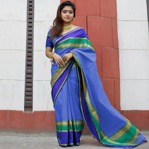 Innovative Blue Colored Party Wear Designer Printed Cotton Silk Saree