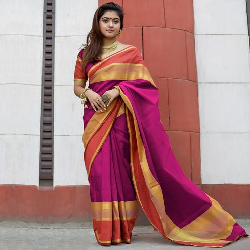 Charming Pink Colored Party Wear Designer Printed Cotton Silk Saree