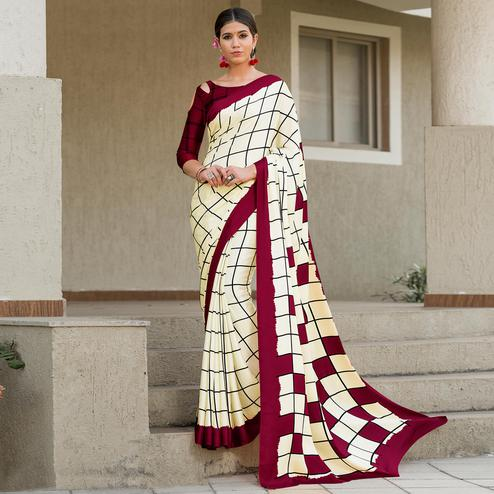 Flattering Cream-Maroon Colored Party Wear Designer Checks Printed Satin Silk Saree